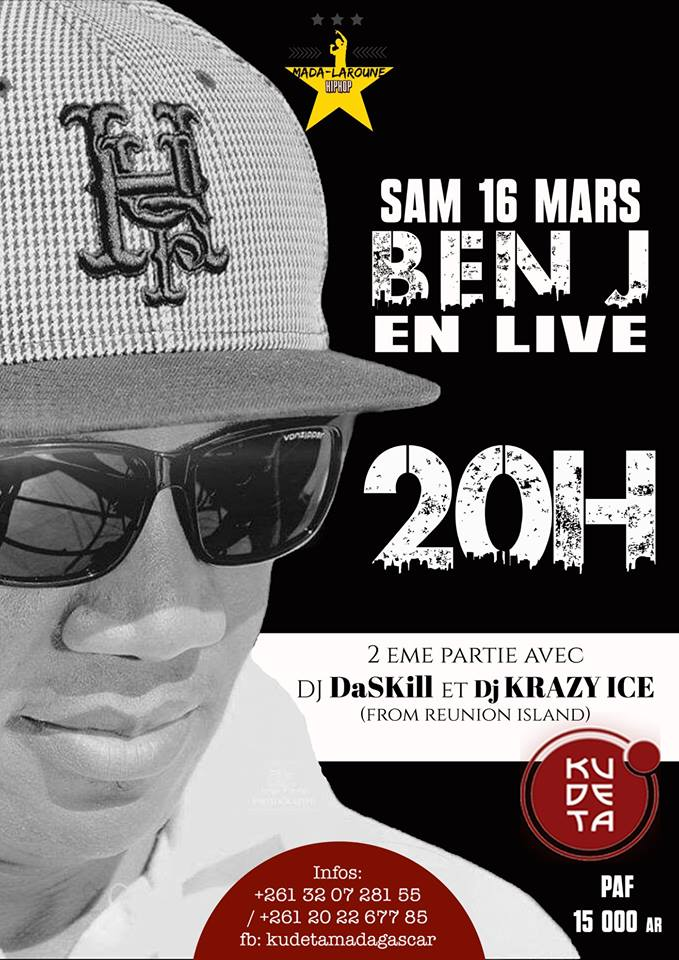 BEN J en live au KUDETA Urban club Anosy le Samedi 16 mars 2019 à 20h