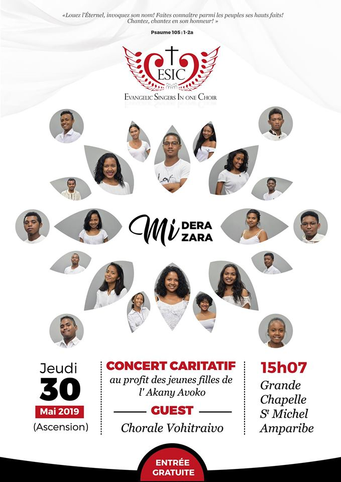 """CONCERT DE LOUANGE """"Midera Mizara"""" au St Michel Amparibe le 30 mai"""